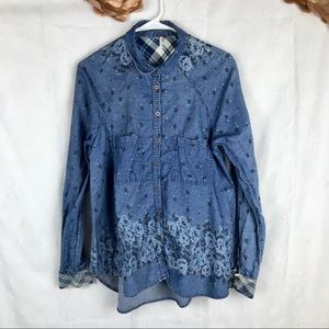 Free People Floral Button Front Jean Long Sleeve